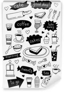 Papier Peint Vinyle Dessinés à la main café icônes avec des gâteaux de thé de café desserts et les sucreries