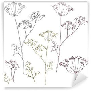 Papier Peint Vinyle Dill ou de fleurs de fenouil et de feuilles.