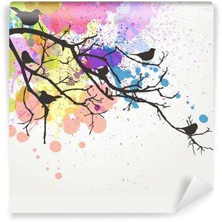 Papier Peint Vinyle Direction de Vector avec des oiseaux sur un fond abstrait