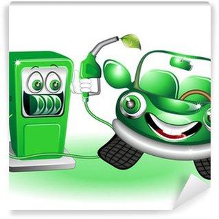 Papier Peint Vinyle Distributeur BD et dessins animés Essence sans plomb vert-Car