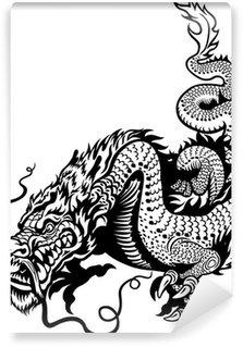 Papier Peint Vinyle Dragon blanc noir