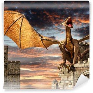 Papier Peint Vinyle Dragon sur Château