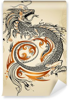 Papier Peint Vinyle Dragon Tattoo Doodle Sketch icône grunge tribal vecteur