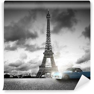 Papier Peint Vinyle Effel Tower, Paris, France et rétro voiture. Noir et blanc