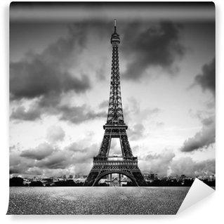 Papier Peint Vinyle Effel Tower, Paris, France. Noir et blanc, cru