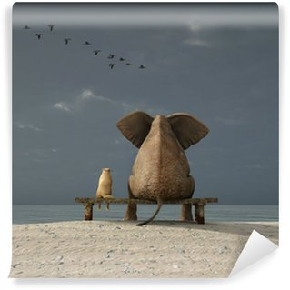 Papier Peint Vinyle Éléphant et chien de s'asseoir sur une plage