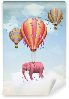 Papier Peint Vinyle Éléphant rose dans le ciel avec des ballons. Illustration