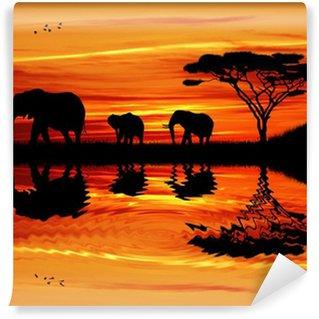 Papier Peint Vinyle Éléphant silhouette au coucher du soleil