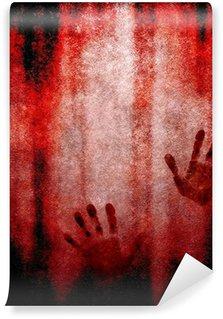 Papier Peint Vinyle Empreinte de la main sanglante sur le mur