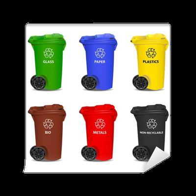 papier peint ensemble de poubelles color es de recyclage vector pixers nous vivons pour. Black Bedroom Furniture Sets. Home Design Ideas