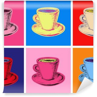 Papier Peint Vinyle Ensemble de tasse de café illustration vectorielle style pop art