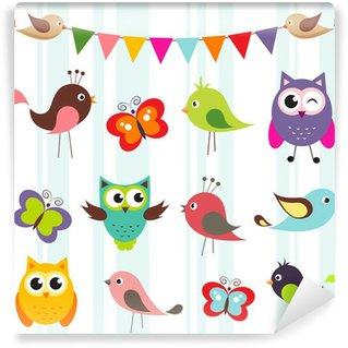 Papier Peint Vinyle Ensemble des oiseaux mignons et les papillons