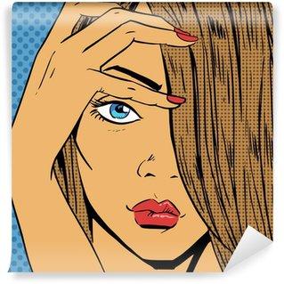 Papier Peint Vinyle Face à la jeune fille regarde beaux comics pop art style rétro Halfton