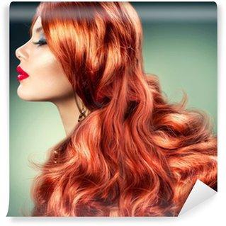 Papier Peint Vinyle Fashion Red Haired Girl Portrait