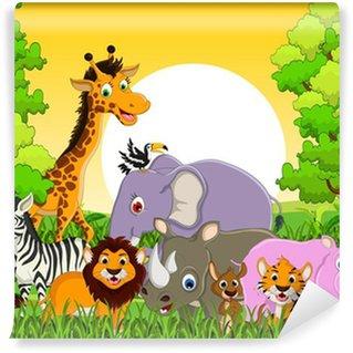 Papier Peint Vinyle Faune animale mignonne avec un fond de forêt