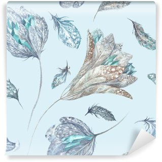 Papier Peint Vinyle Feather Fleurs Aquarelle Motif