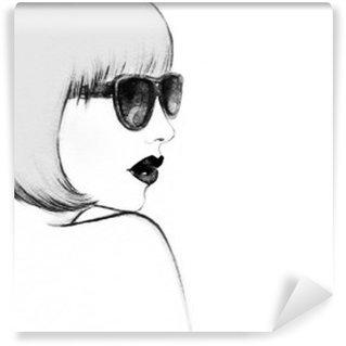 Papier Peint Vinyle Femme avec des lunettes. illustration d'aquarelle
