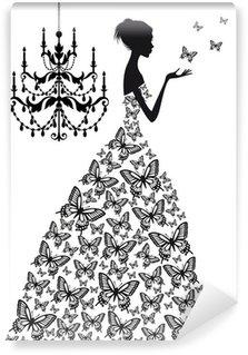 Papier Peint Vinyle Femme avec des papillons, vecteur