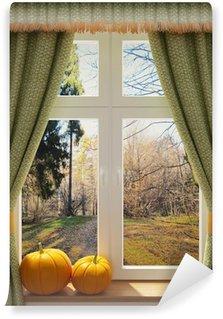 Papier Peint Vinyle Fenêtre avec des citrouilles d'une belle vue