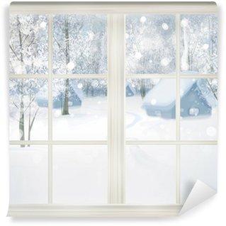 Papier Peint Vinyle Fenêtre avec vue sur l'hiver de fond neigeux.