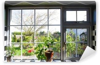 Papier Peint Vinyle Fenêtre de la cuisine avec vue sur jardin