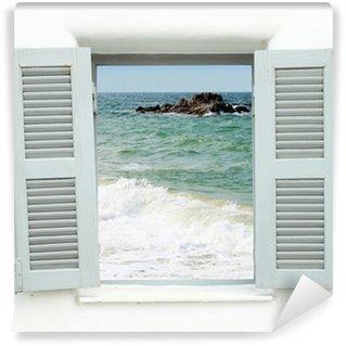 Papier Peint Vinyle Fenêtre de style grec avec vue sur la mer