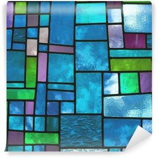 Papier Peint Vinyle Fenêtre de verre bleu teinté multicolore, format carré