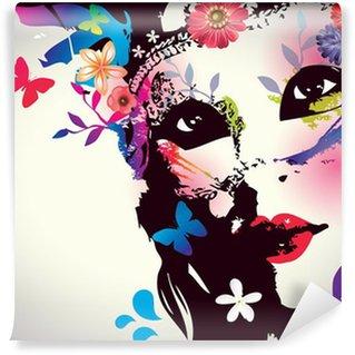 Papier Peint Vinyle Fille avec le masque / Vector illustration