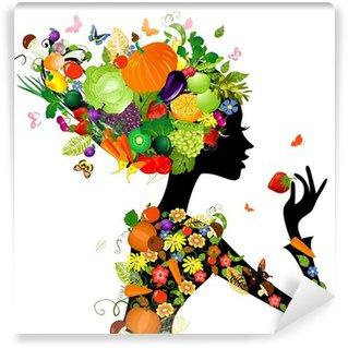 Papier Peint Vinyle Fille de mode avec des cheveux de fruits pour votre conception