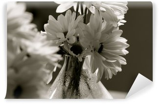 Papier Peint Vinyle Fleurs noir et blanc