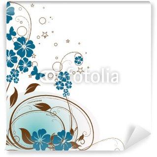 Papier Peint Vinyle Floral bleu pièce