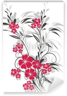 Papier Peint Vinyle Floral rouge un cochon