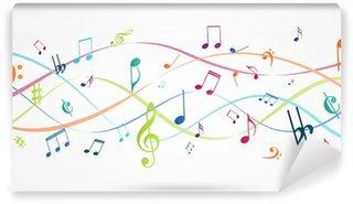 Papier Peint Vinyle Fond abstrait avec des notes de musique colorées