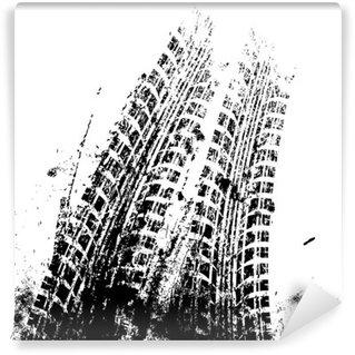 Papier Peint Vinyle Fond grunge avec piste de pneu noir, vecteur