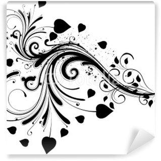 Papier Peint Vinyle Fond noir et papillon