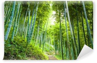 Papier Peint Vinyle Forêt de bambous et une passerelle