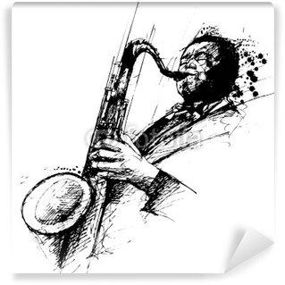 Papier Peint Vinyle Freehanding dessin d'un saxophoniste de jazz