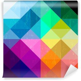 Papier Peint Vinyle Géométrique abstrait, modèle, fond, avec triangles / carrés un