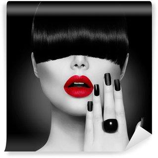 Papier Peint Vinyle Girl Fashion Modèle avec la mode Coiffure, maquillage et manucure