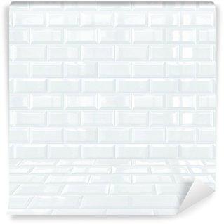 Papier Peint Vinyle Glossy White salle de carreaux de briques en céramique