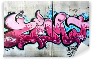 Papier Peint Vinyle Graffiti rose à Salzbourg, en Autriche. Art ou vandalisme urbain.