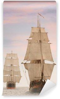 Papier Peint Vinyle Grands voiliers en bois d'époque