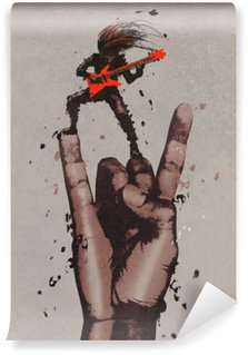 Papier Peint Vinyle Grosse main dans la roche n roll signe avec le guitariste, illustration peinture
