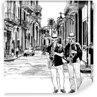 Papier Peint Vinyle Groupe de jazz à Cuba