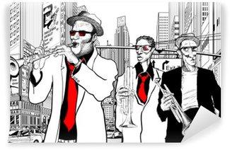 Papier Peint Vinyle Groupe de jazz dans une rue de New-York