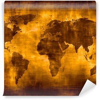 Papier Peint Vinyle Grunge carte du monde.