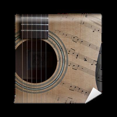 papier peint guitare acoustique et partition pixers. Black Bedroom Furniture Sets. Home Design Ideas