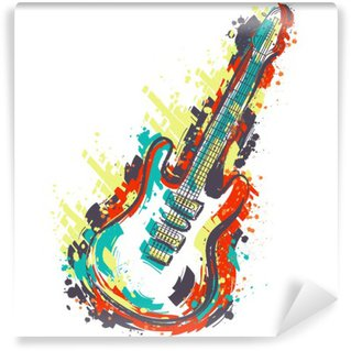 Papier Peint Vinyle Guitare électrique. Hand drawn art de style grunge. banner Retro, carte, t-shirt, sac, impression, poster.Vintage main colorée dessinée illustration vectorielle