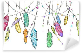 Papier Peint Vinyle Hand drawn plumes esquisse de capteur de rêves.