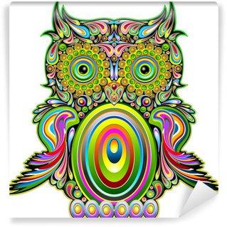 Papier Peint Vinyle Hibou psychédélique Pop Art décoratif psychédélique Conception-Owl